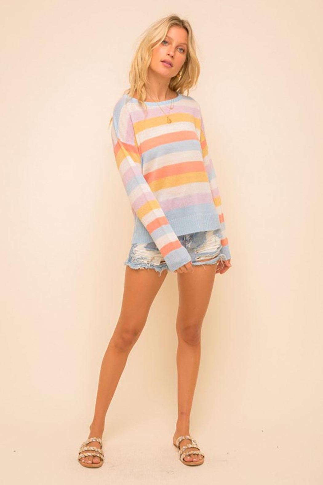 Mint Cloud Boutique Multi Colored Stripe Pullover Sweater Top - Back Cropped Image