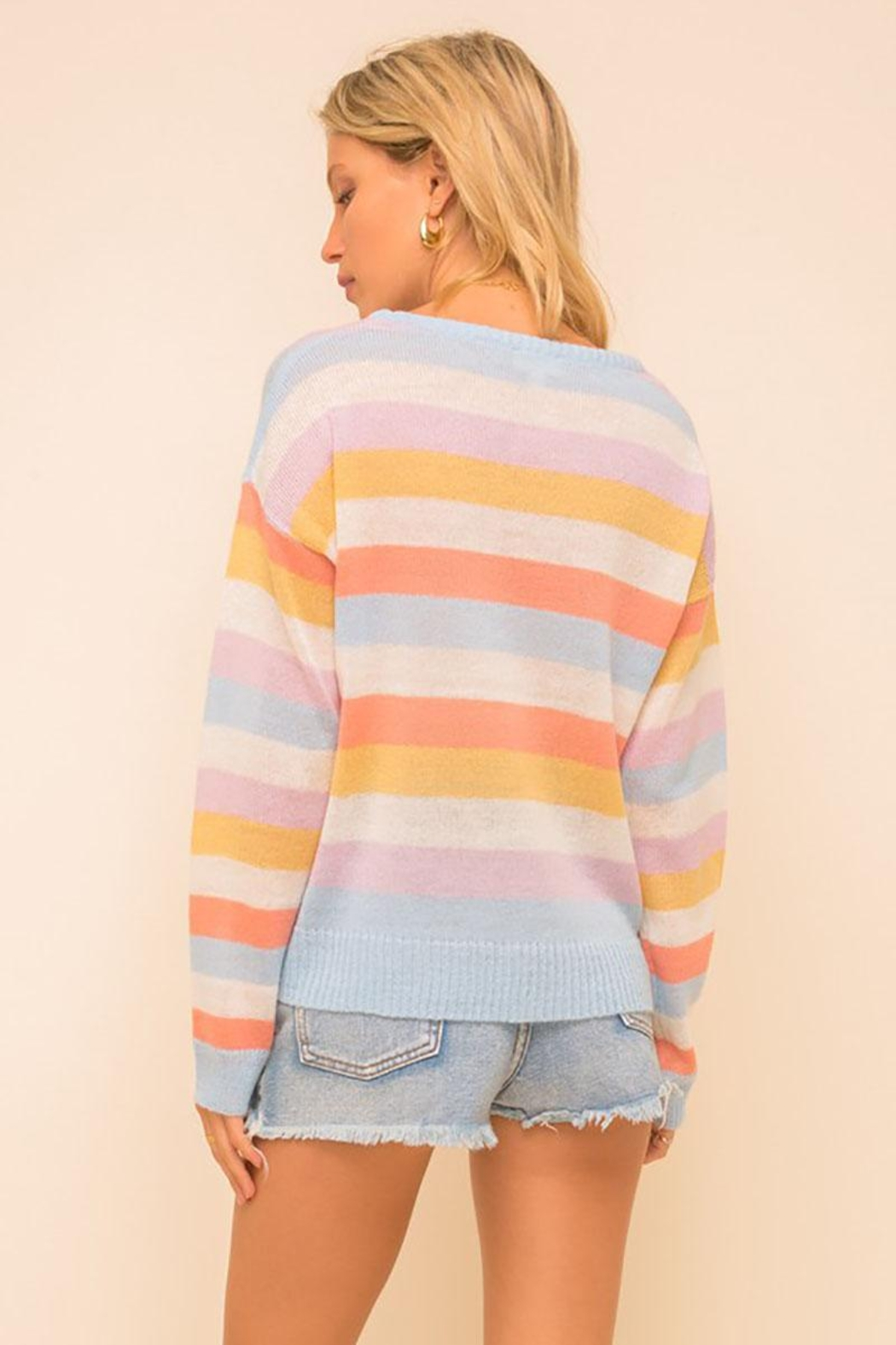 Mint Cloud Boutique Multi Colored Stripe Pullover Sweater Top - Front Full Image