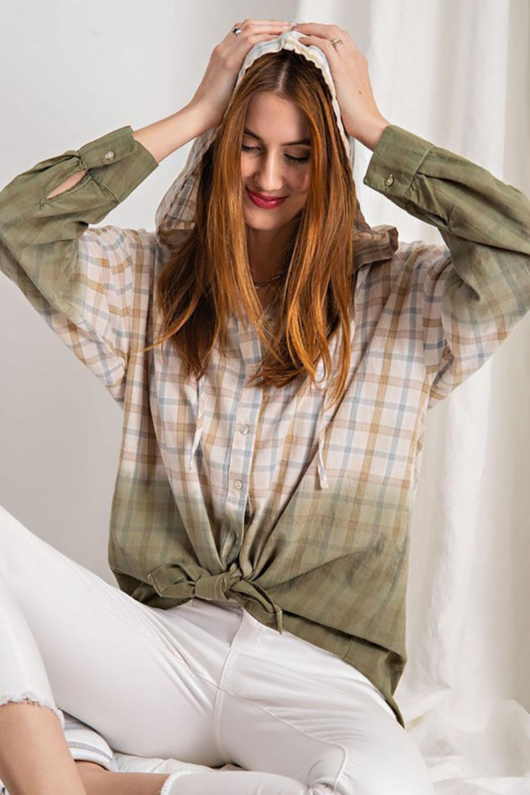 Mint Cloud Boutique Plaid And Dip Dye Gradient Hooded Top - Front Full Image