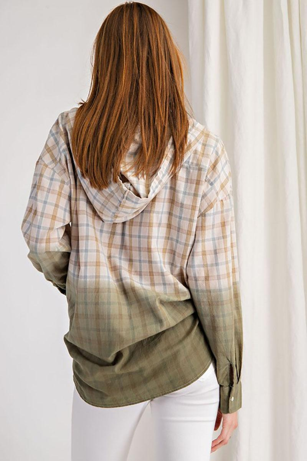 Mint Cloud Boutique Plaid And Dip Dye Gradient Hooded Top - Back Cropped Image