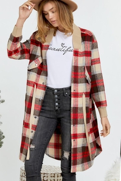 Mint Cloud Boutique Plaid Oversize Long Shirt Jacket Vintage Style - Product List Image