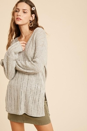 Mint Cloud Boutique Raw Edge Side Slit Knit Pullover - Product Mini Image
