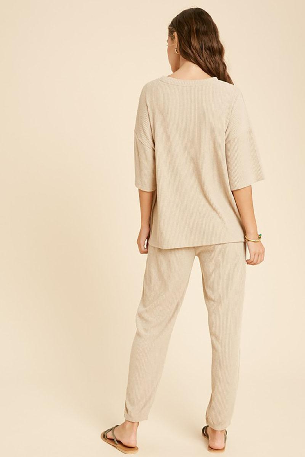 Mint Cloud Boutique Ribbed Casual Loungewear Set - Side Cropped Image