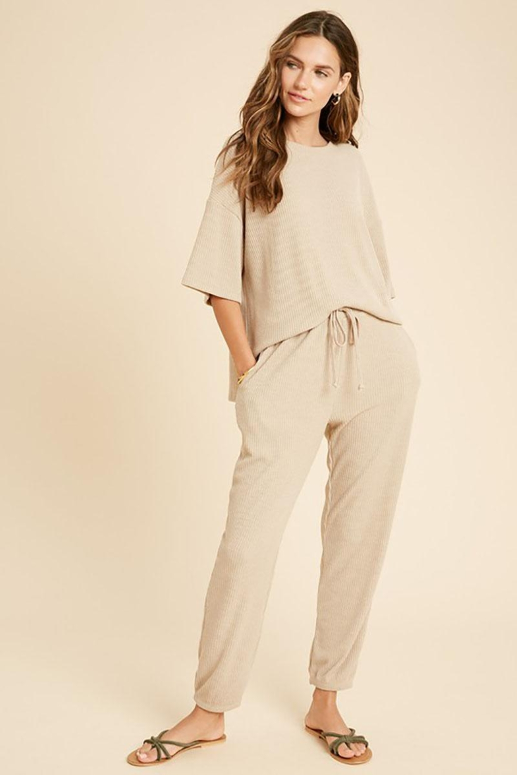 Mint Cloud Boutique Ribbed Casual Loungewear Set - Front Cropped Image