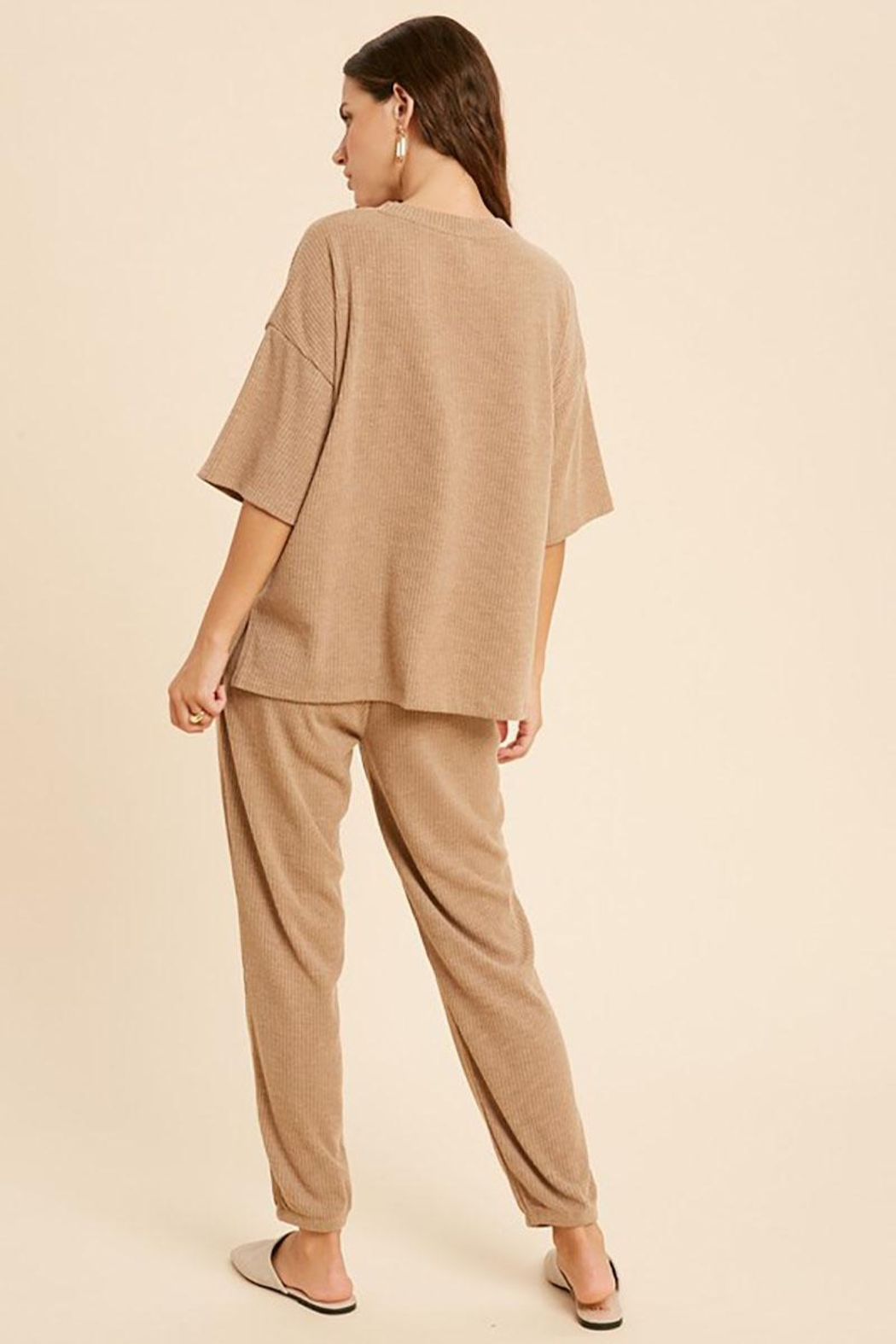 Mint Cloud Boutique Ribbed Casual Loungewear Set - Back Cropped Image