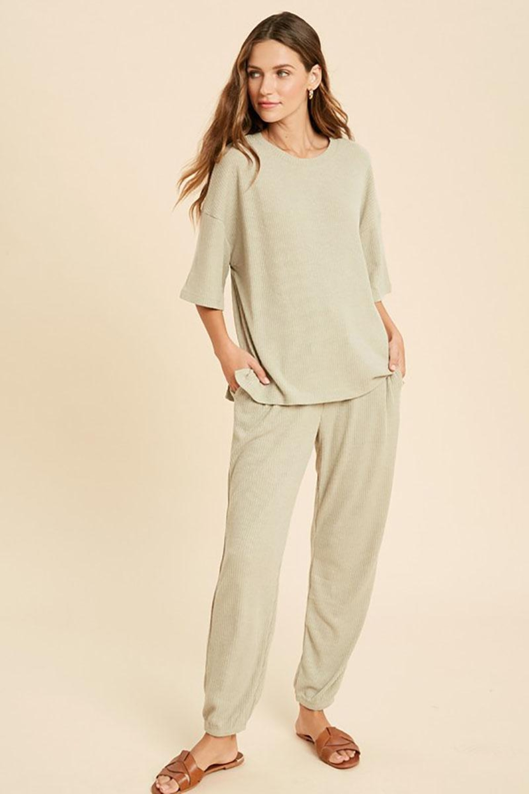Mint Cloud Boutique Ribbed Casual Loungewear Set - Front Full Image