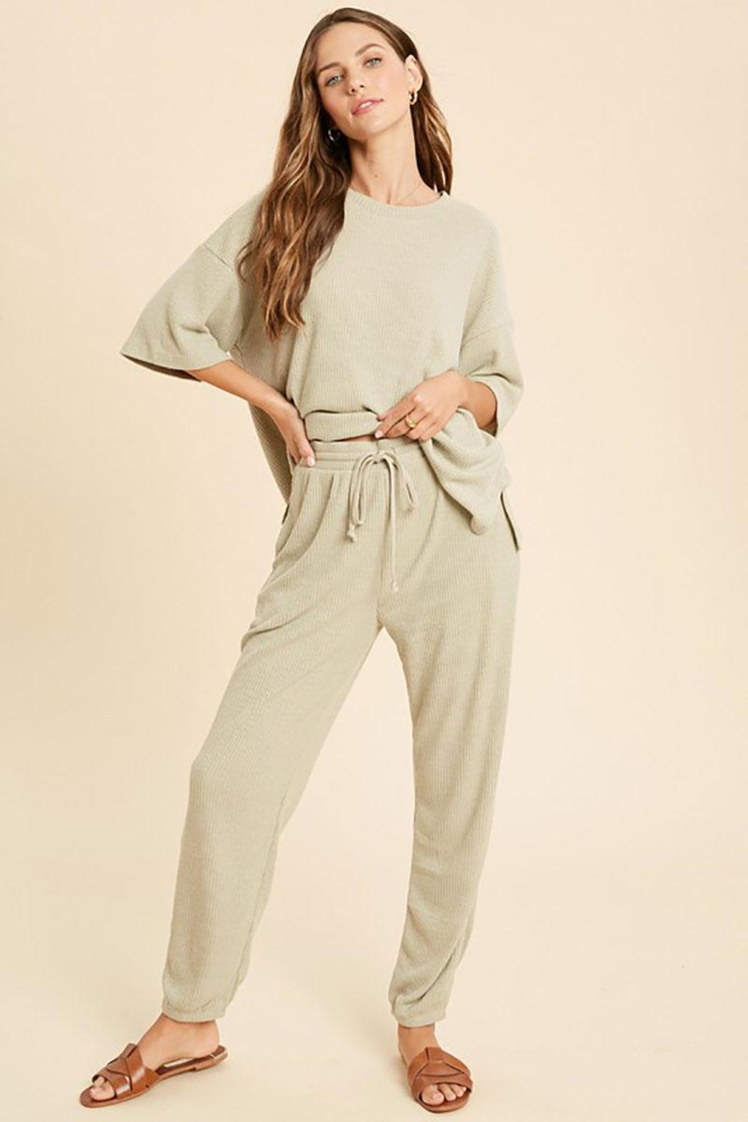 Mint Cloud Boutique Ribbed Casual Loungewear Set - Main Image