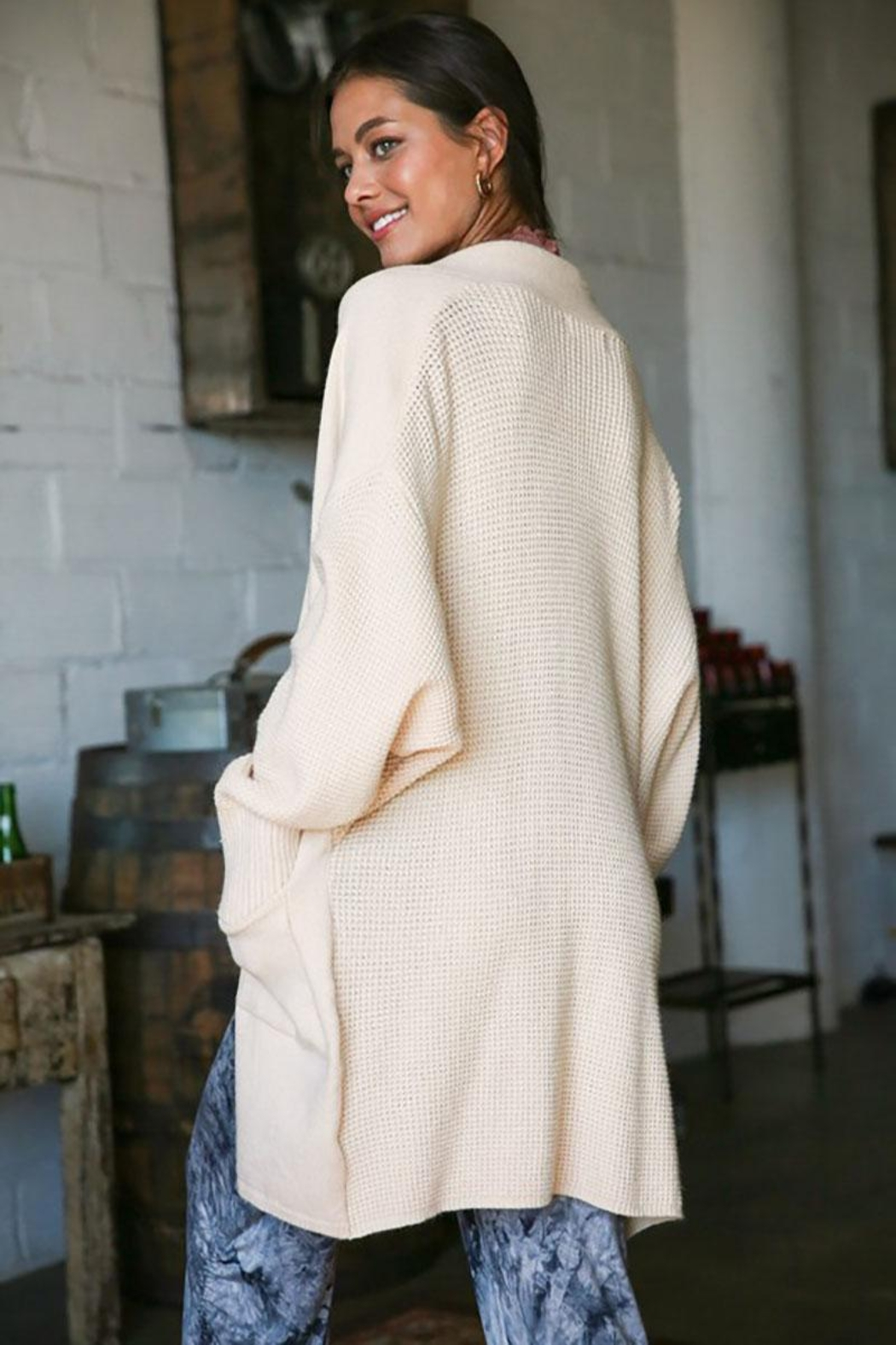 Mint Cloud Boutique Soft Knit Waffle Back Long Cardigan - Side Cropped Image