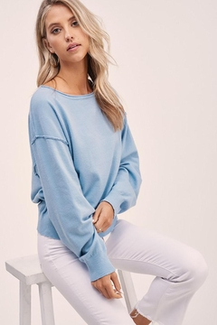 Mint Cloud Boutique Solid Boat Neck Sweater Top - Product List Image