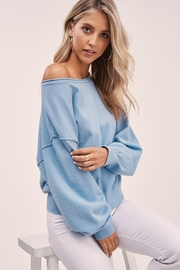 Mint Cloud Boutique Solid Boat Neck Sweater Top - Front full body