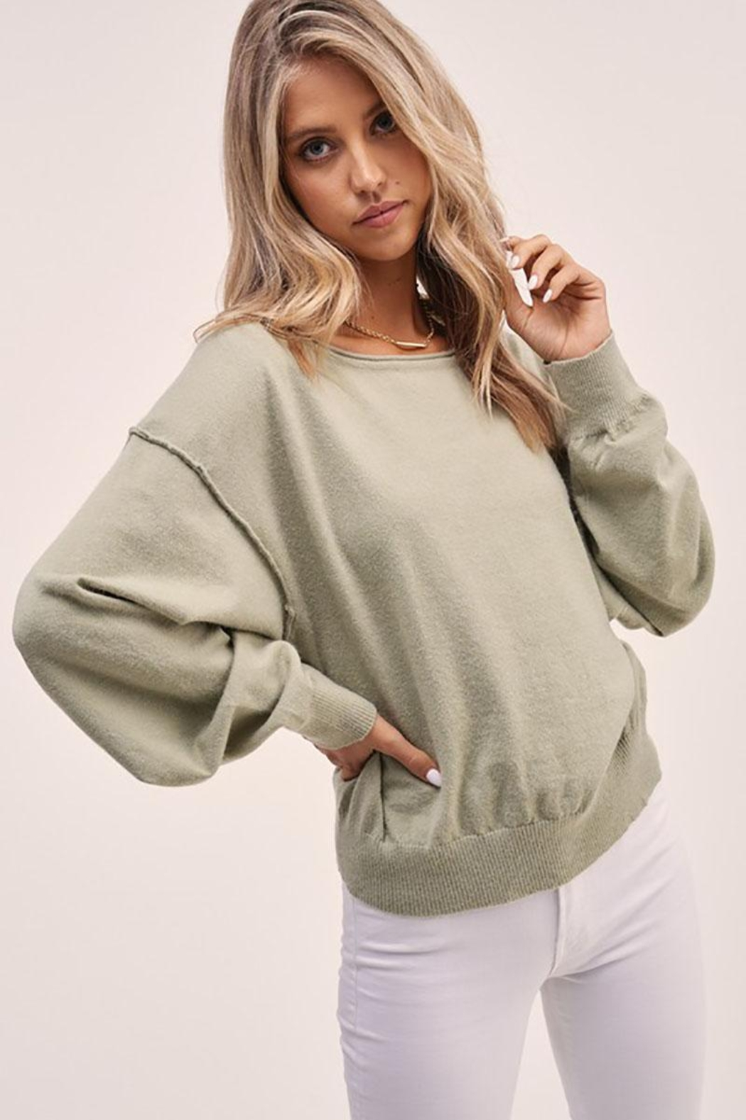 Mint Cloud Boutique Solid Boat Neck Sweater Top - Front Full Image