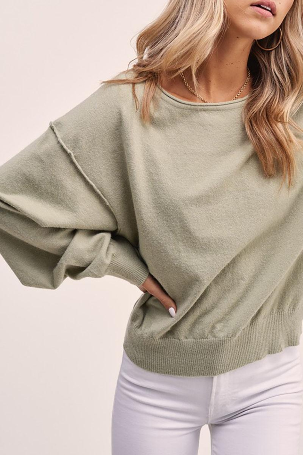 Mint Cloud Boutique Solid Boat Neck Sweater Top - Side Cropped Image