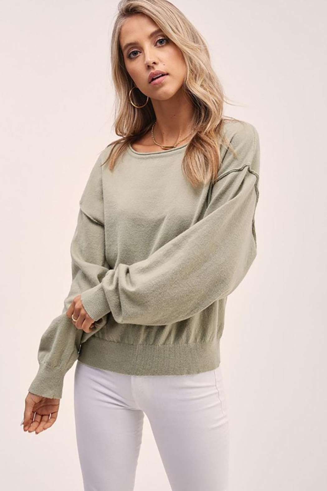 Mint Cloud Boutique Solid Boat Neck Sweater Top - Front Cropped Image