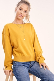 Mint Cloud Boutique Solid Boat Neck Sweater Top - Front cropped