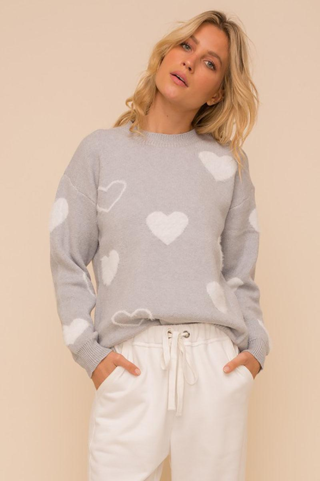 Mint Cloud Boutique Super Soft Heart Print Knit Crew Neck Cozy Pullover Sweater - Front Cropped Image