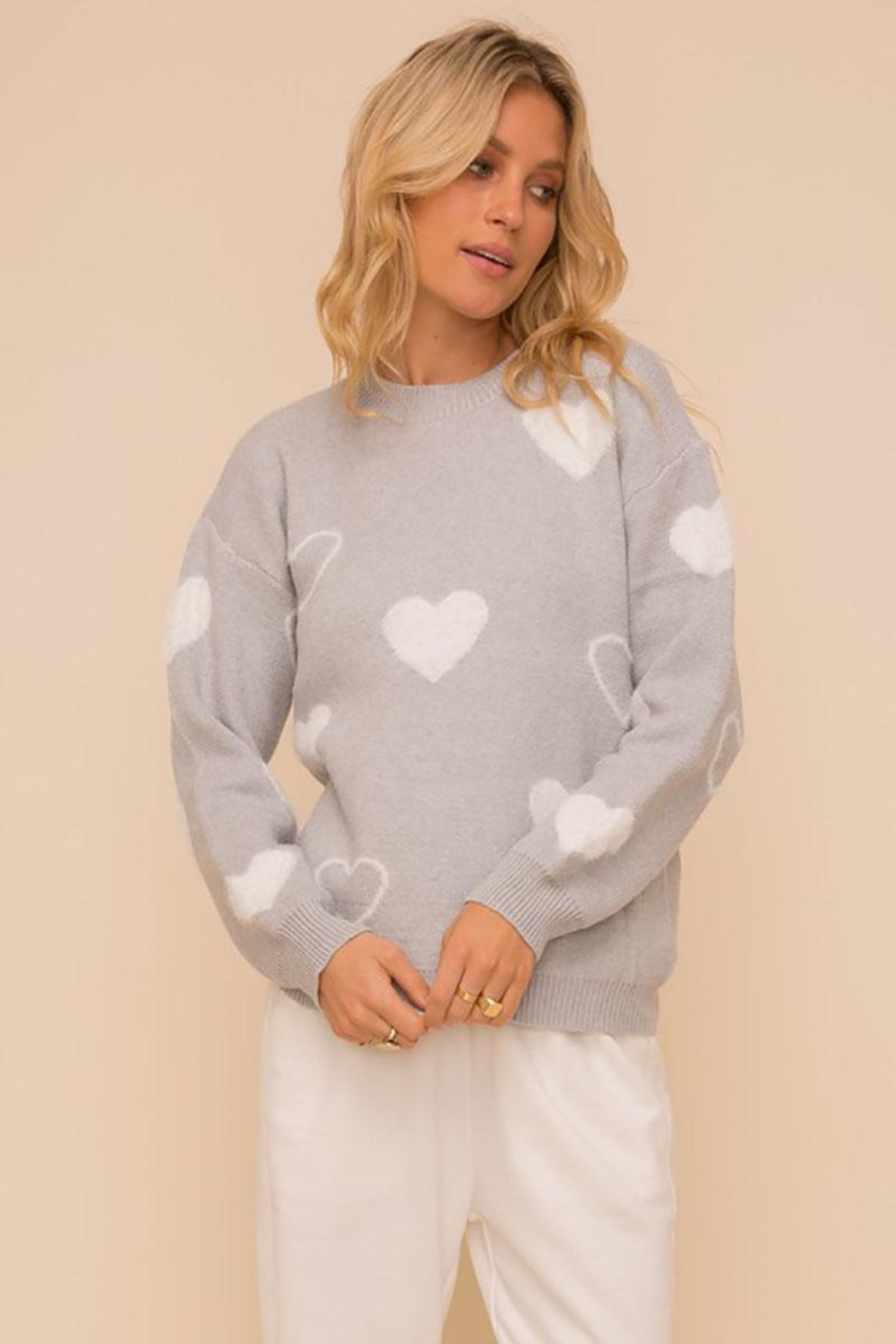 Mint Cloud Boutique Super Soft Heart Print Knit Crew Neck Cozy Pullover Sweater - Front Full Image