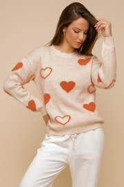 Mint Cloud Boutique Super Soft Heart Print Knit Crew Neck Cozy Pullover Sweater - Front cropped