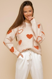 Mint Cloud Boutique Super Soft Heart Print Knit Crew Neck Cozy Pullover Sweater - Front full body