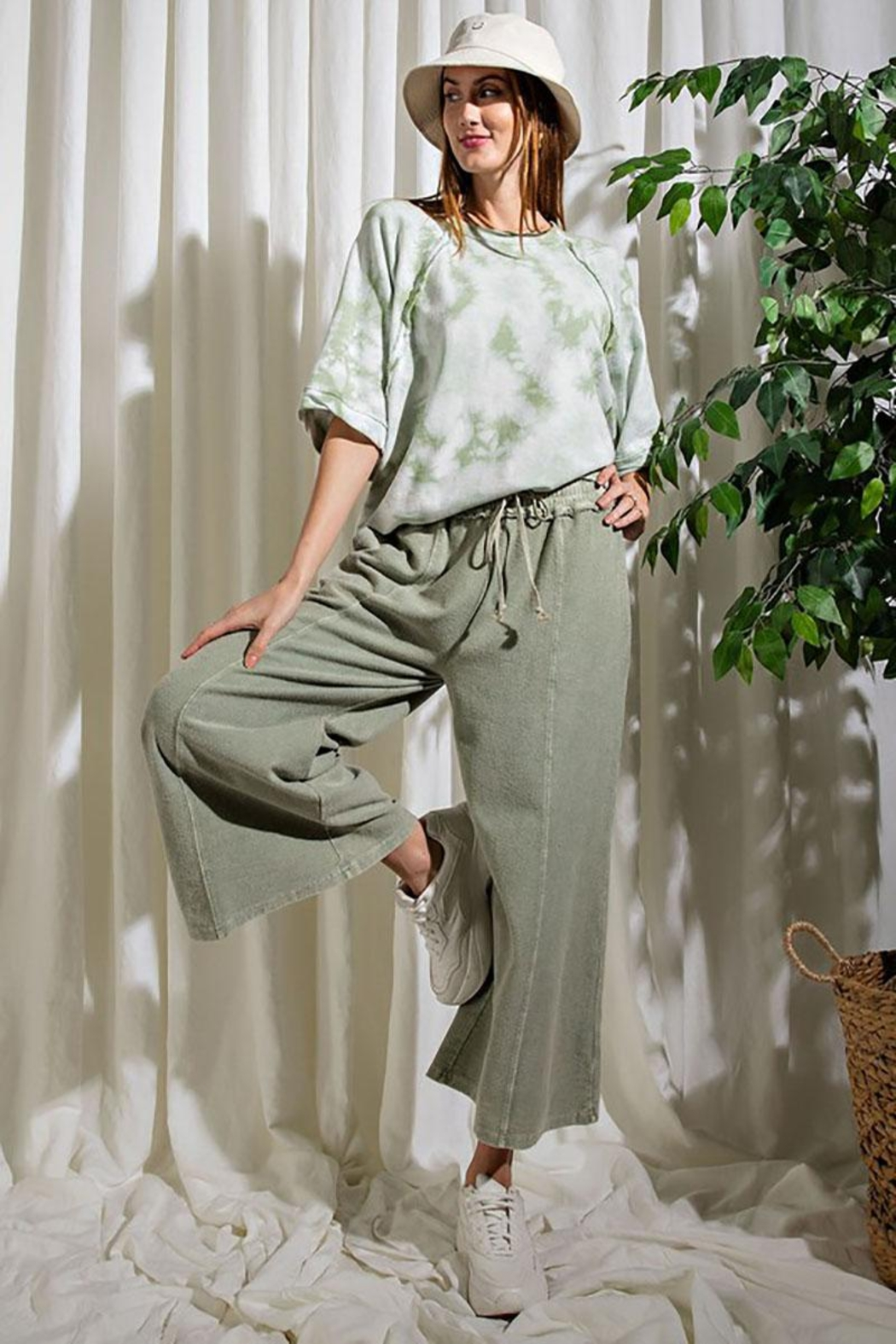 Mint Cloud Boutique Upside Down French Terry Wide Leg Pants - Front Cropped Image