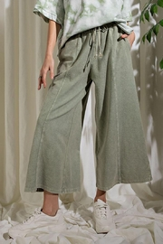 Mint Cloud Boutique Upside Down French Terry Wide Leg Pants - Front full body