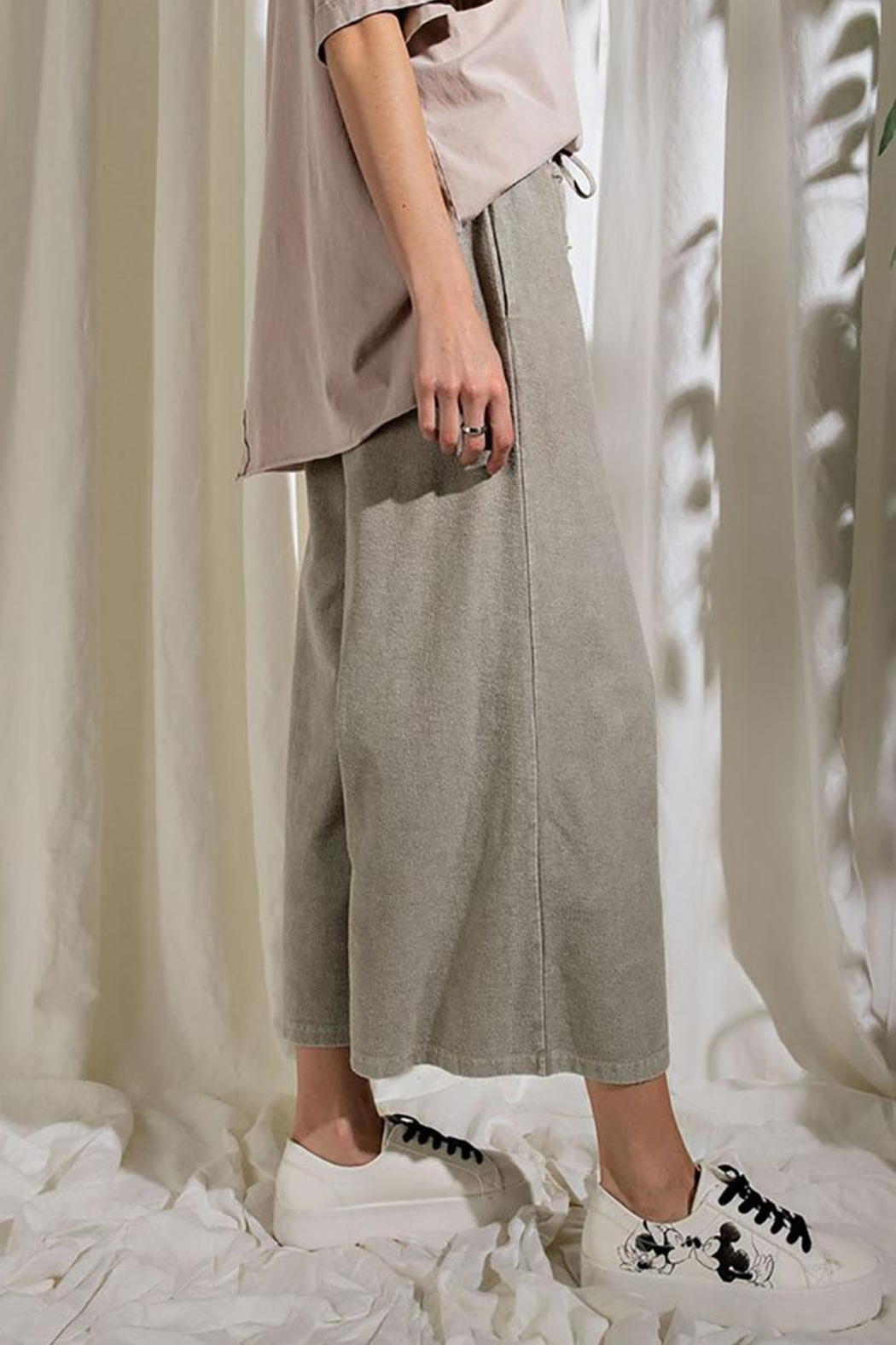 Mint Cloud Boutique Upside Down French Terry Wide Leg Pants - Side Cropped Image