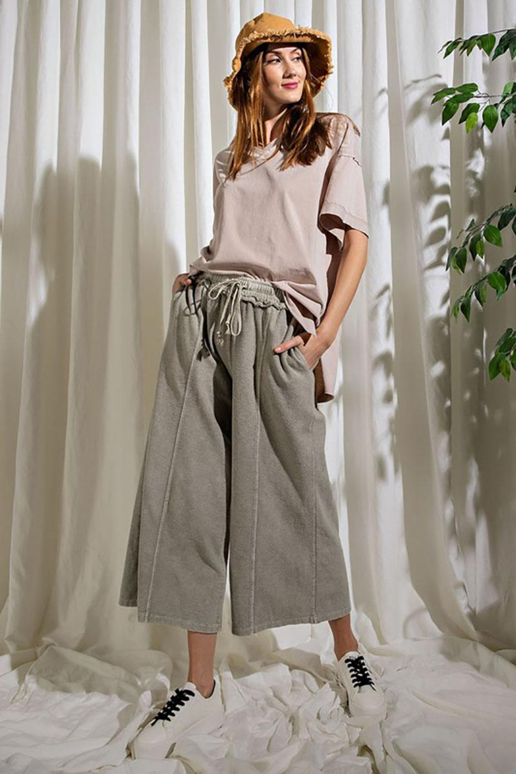Mint Cloud Boutique Upside Down French Terry Wide Leg Pants - Main Image