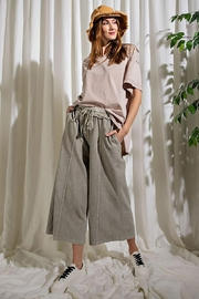 Mint Cloud Boutique Upside Down French Terry Wide Leg Pants - Front cropped
