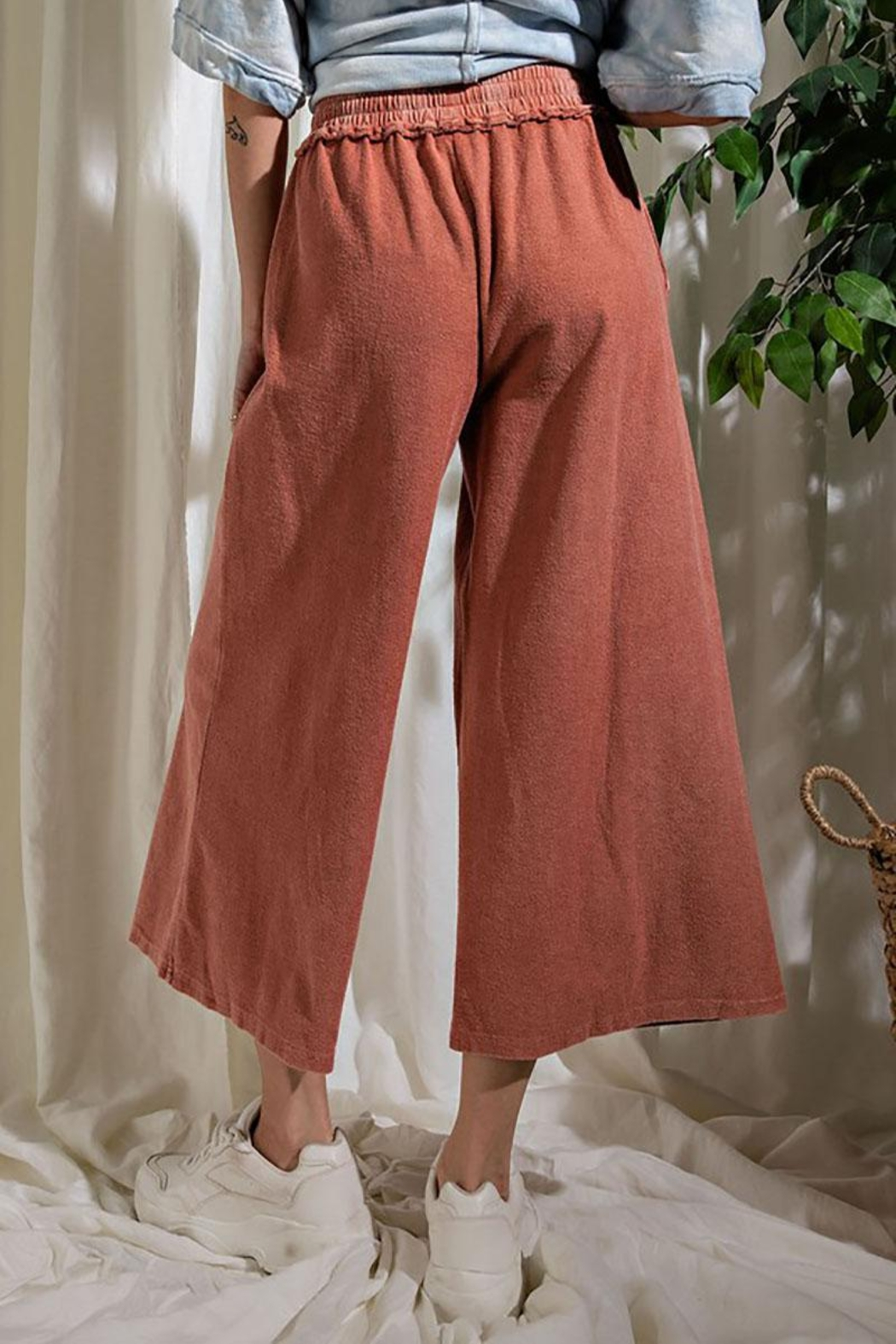 Mint Cloud Boutique Upside Down French Terry Wide Leg Pants - Front Full Image