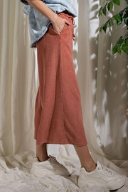 Mint Cloud Boutique Upside Down French Terry Wide Leg Pants - Side cropped
