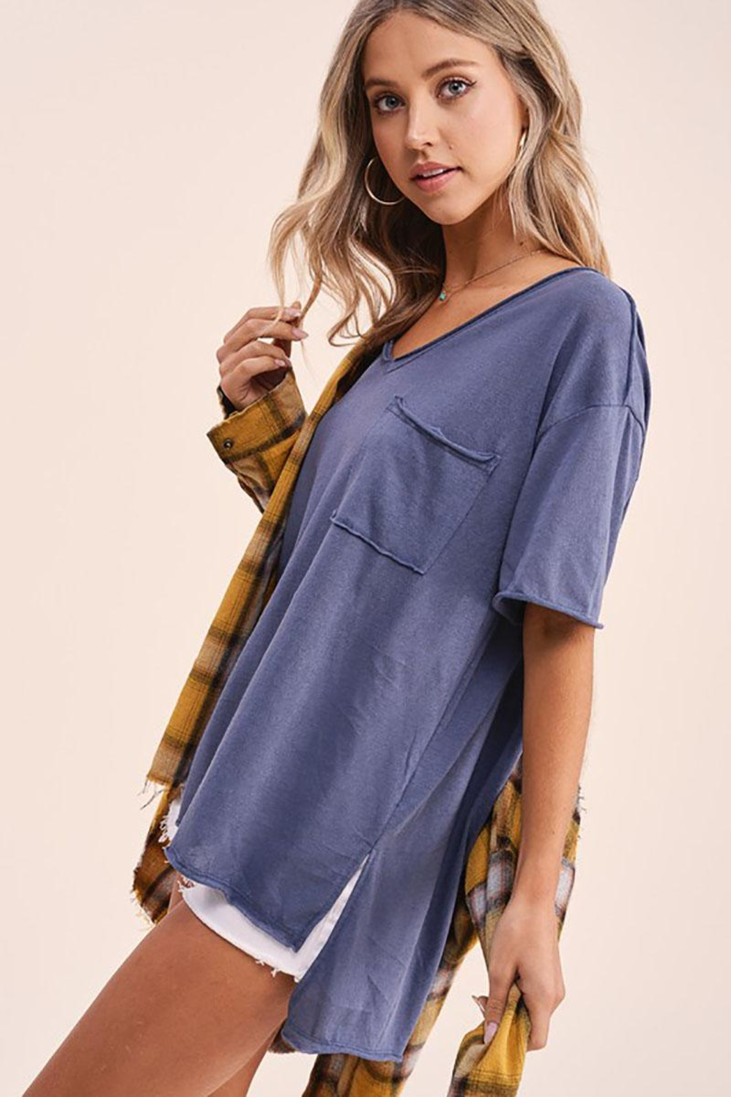 Mint Cloud Boutique Vintage Boxy Tunic Top - Side Cropped Image
