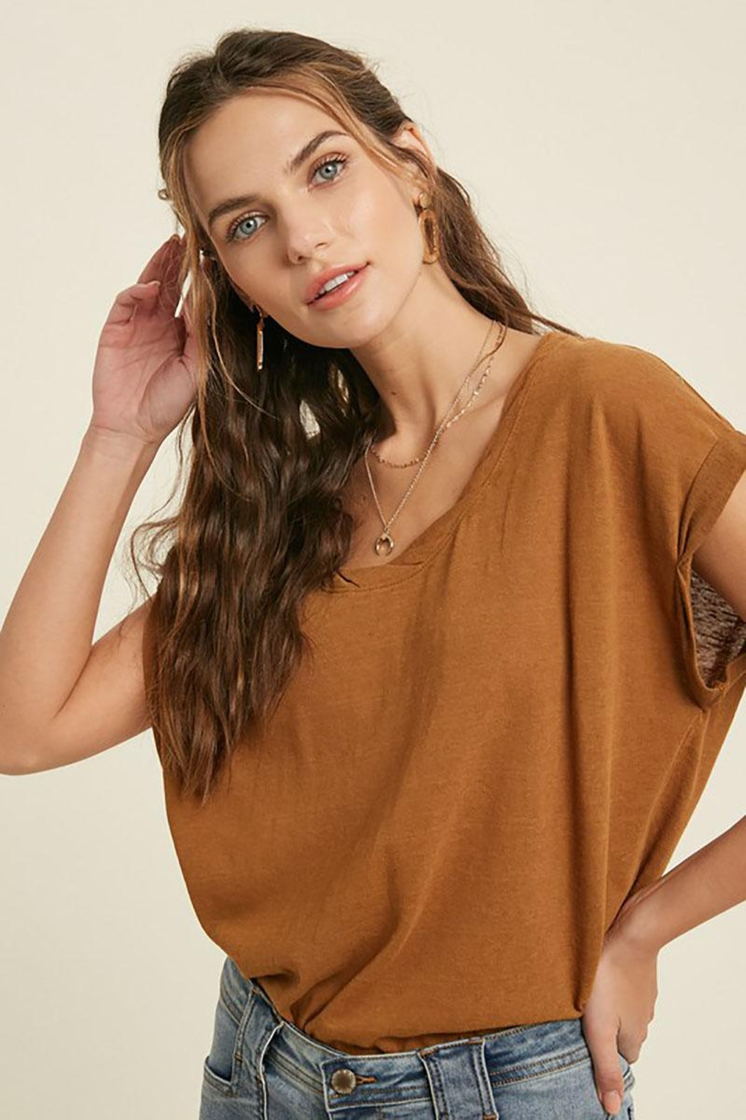 Mint Cloud Boutique Vintage Twist Neck Band And Sleeve Tunic Top - Front Full Image