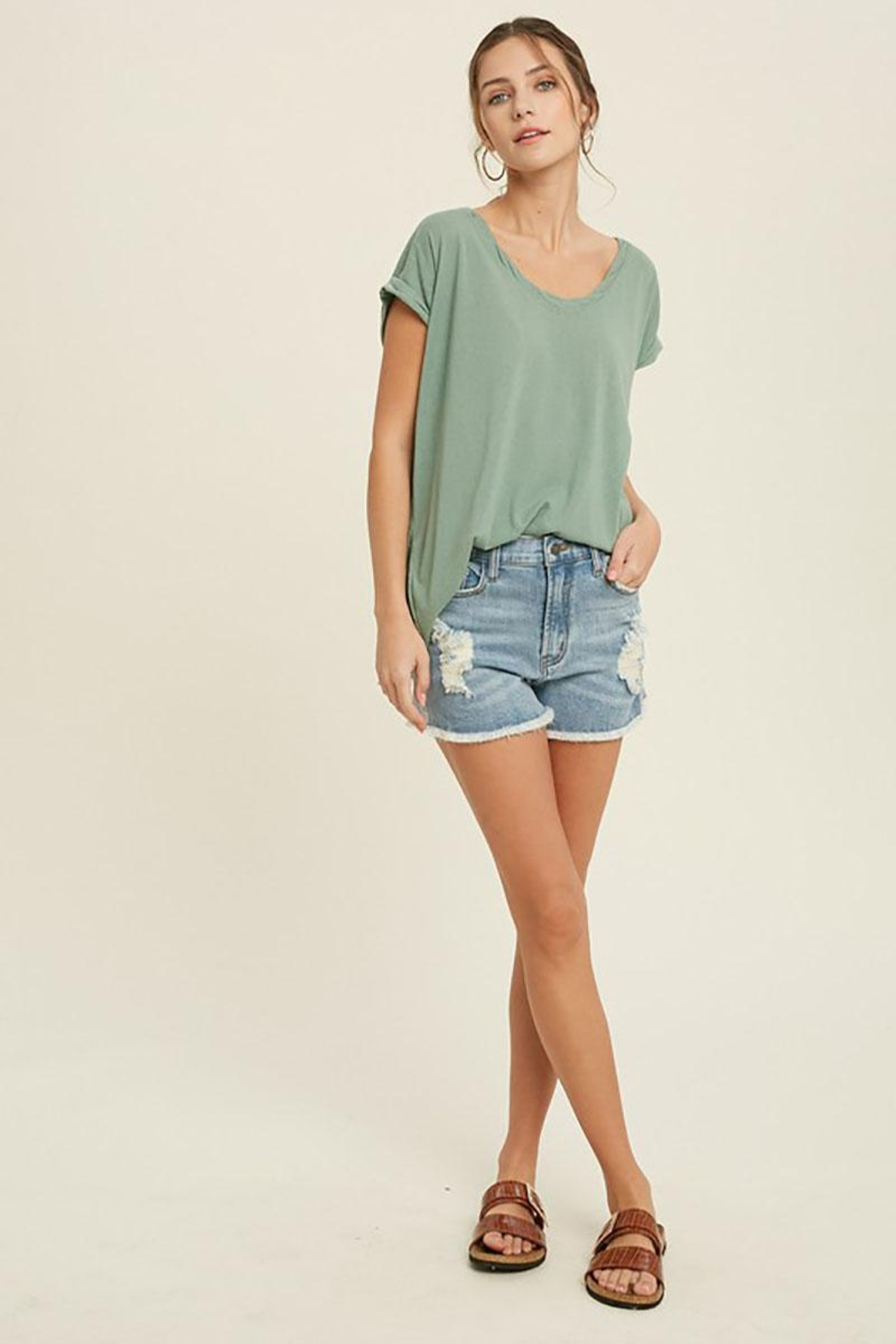 Mint Cloud Boutique Vintage Twist Neck Band And Sleeve Tunic Top - Side Cropped Image
