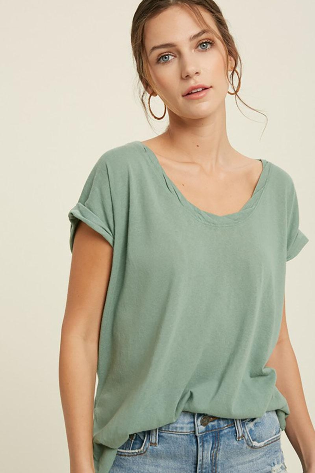 Mint Cloud Boutique Vintage Twist Neck Band And Sleeve Tunic Top - Main Image