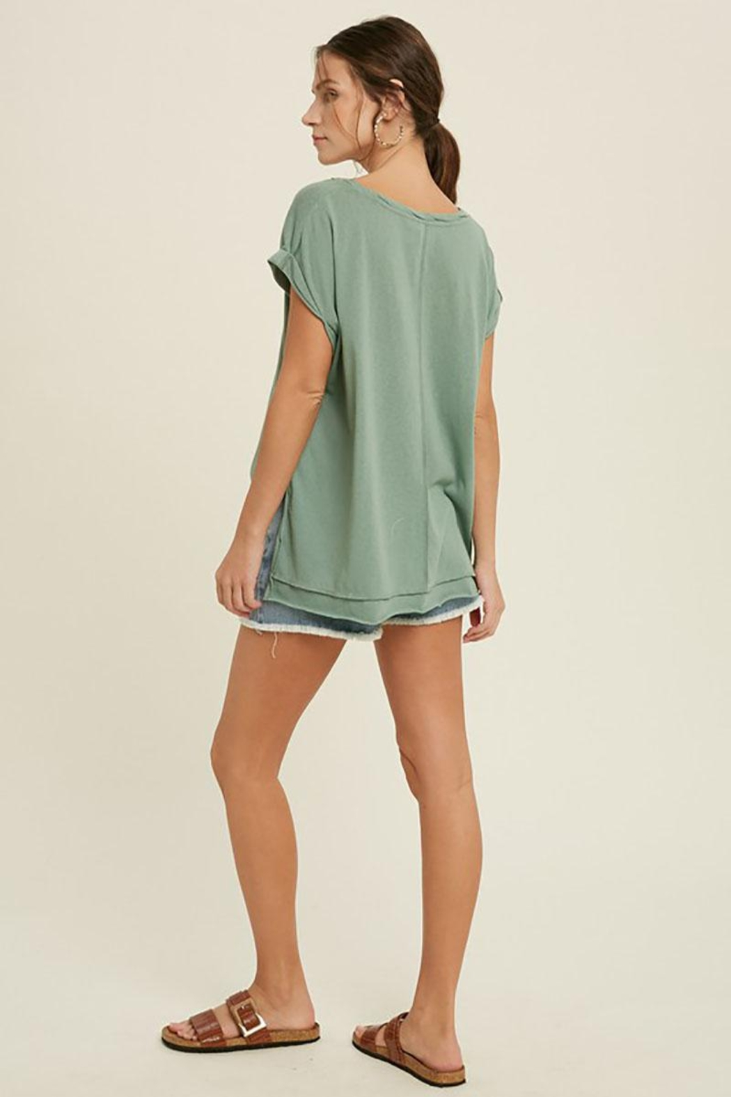 Mint Cloud Boutique Vintage Twist Neck Band And Sleeve Tunic Top - Back Cropped Image