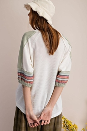 Mint Cloud Boutique Waffle Embroidered Half Bubble Sleeve Top - Back cropped