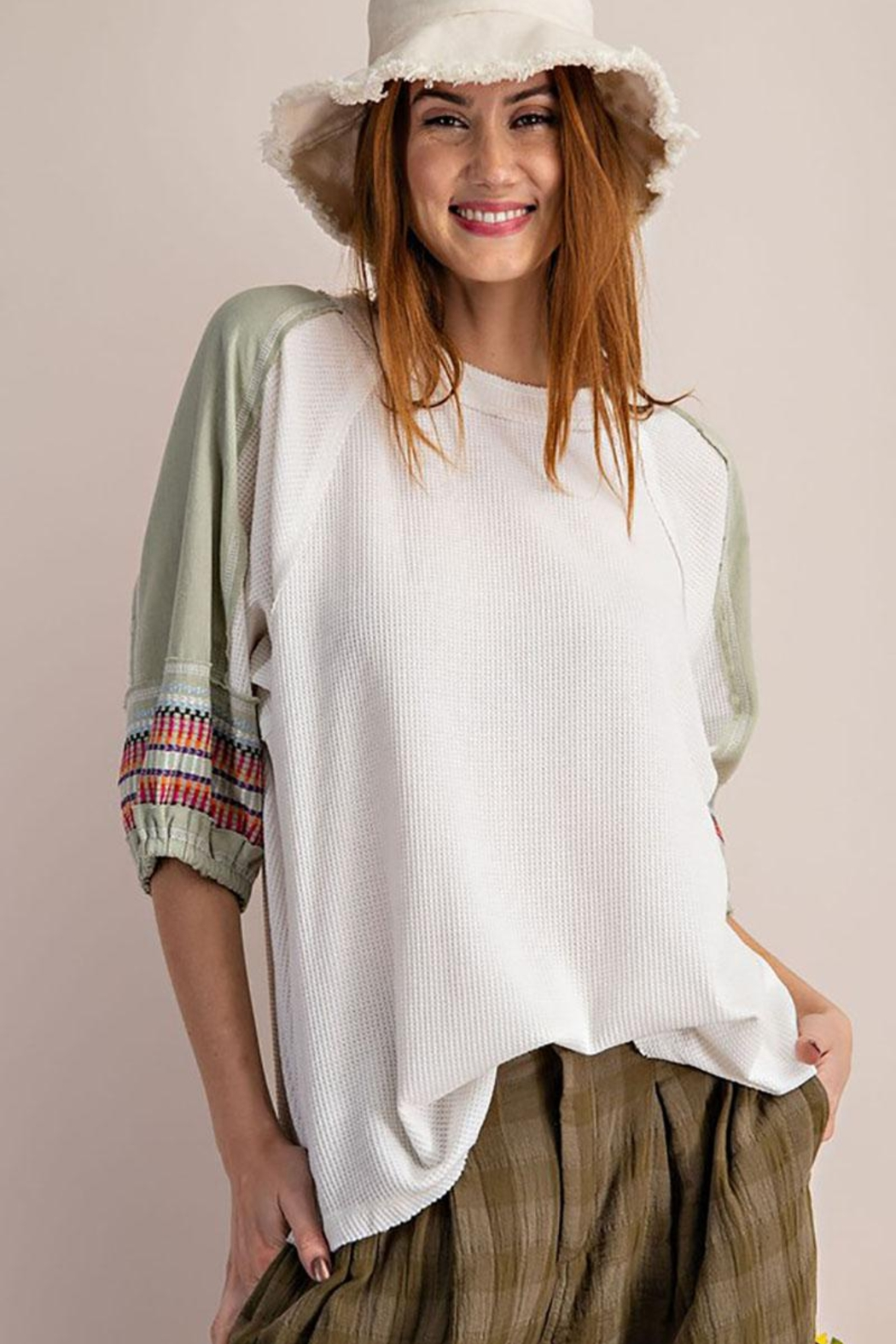 Mint Cloud Boutique Waffle Embroidered Half Bubble Sleeve Top - Main Image