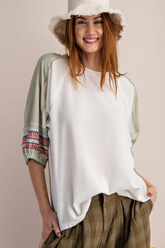 Mint Cloud Boutique Waffle Embroidered Half Bubble Sleeve Top - Product List Image