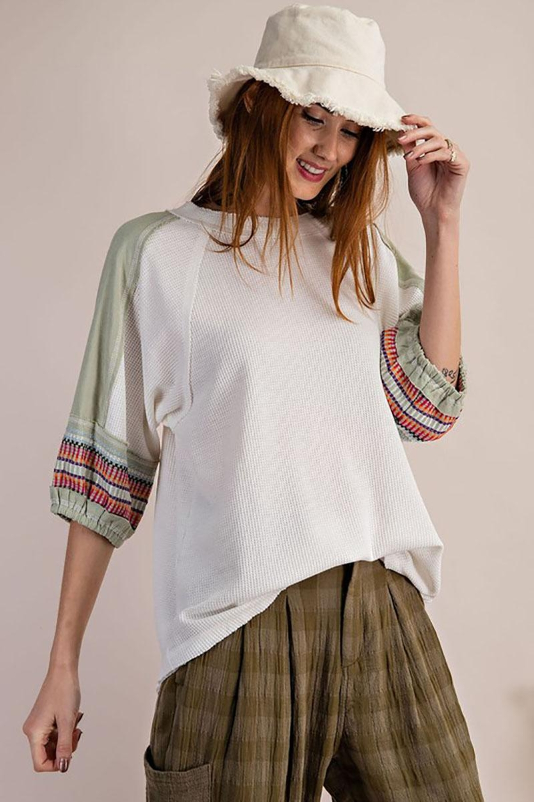 Mint Cloud Boutique Waffle Embroidered Half Bubble Sleeve Top - Front Full Image