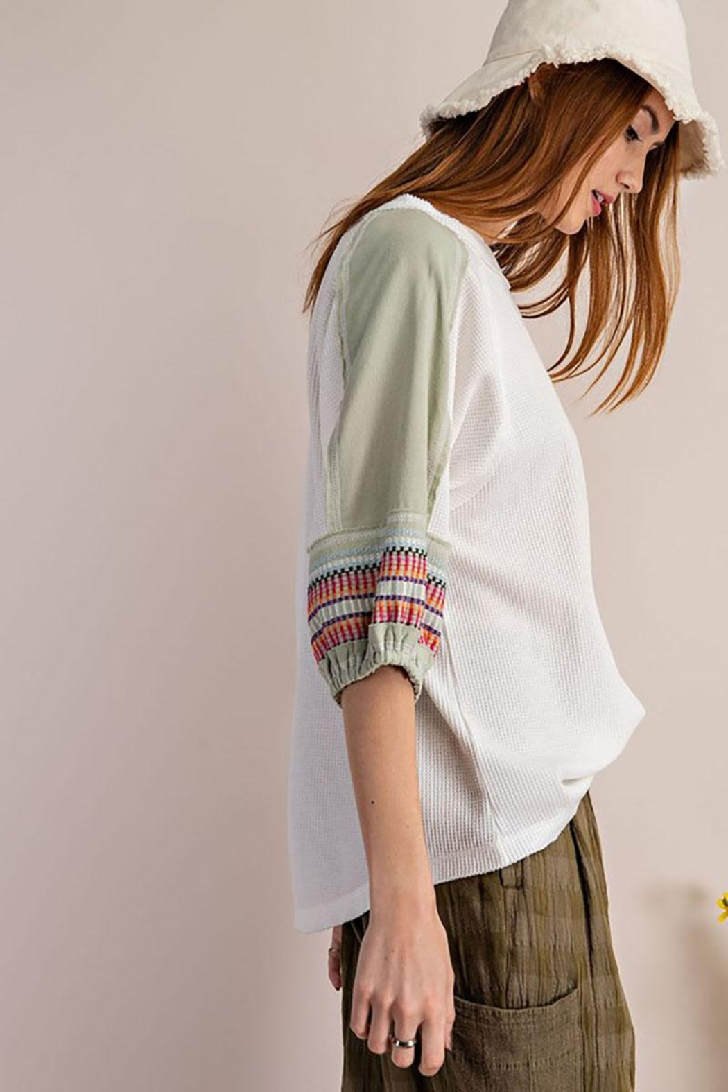 Mint Cloud Boutique Waffle Embroidered Half Bubble Sleeve Top - Side Cropped Image