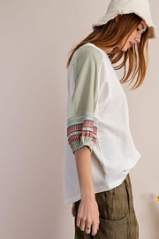 Mint Cloud Boutique Waffle Embroidered Half Bubble Sleeve Top - Side cropped