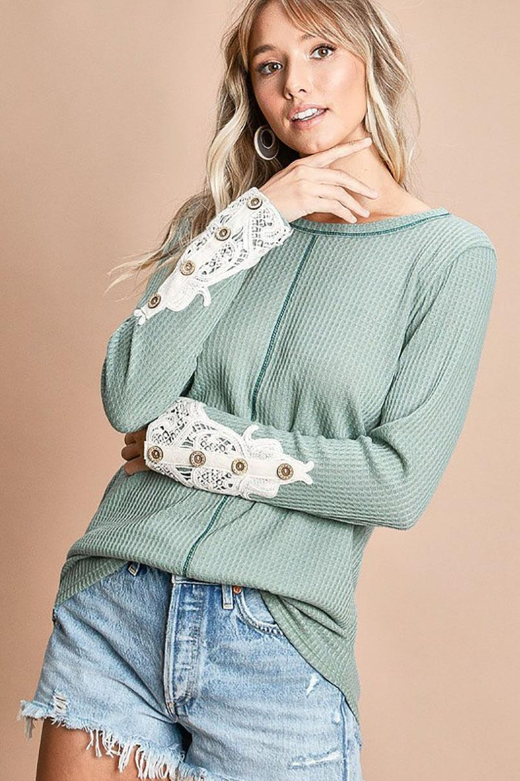 Mint Cloud Boutique Waffle Knit With Crochet Patch And Buttons - Side Cropped Image