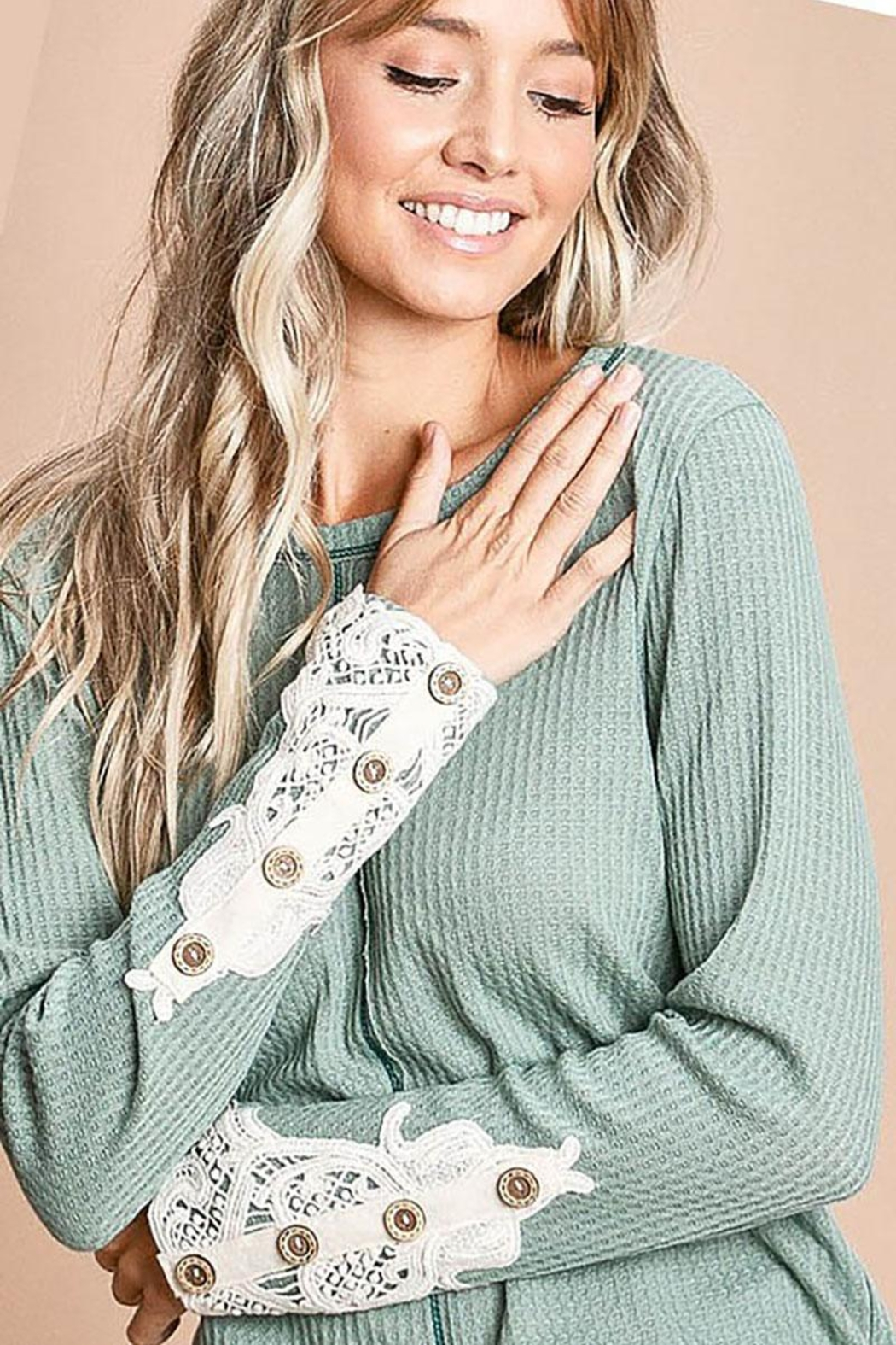 Mint Cloud Boutique Waffle Knit With Crochet Patch And Buttons - Front Cropped Image