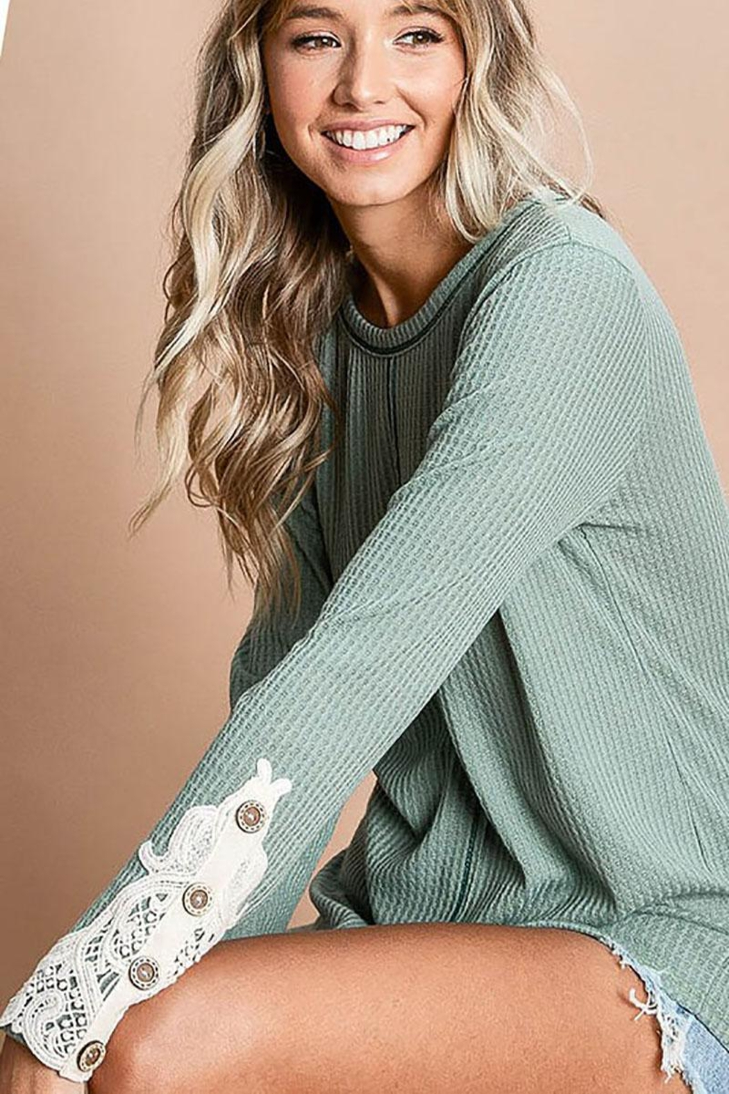 Mint Cloud Boutique Waffle Knit With Crochet Patch And Buttons - Front Full Image