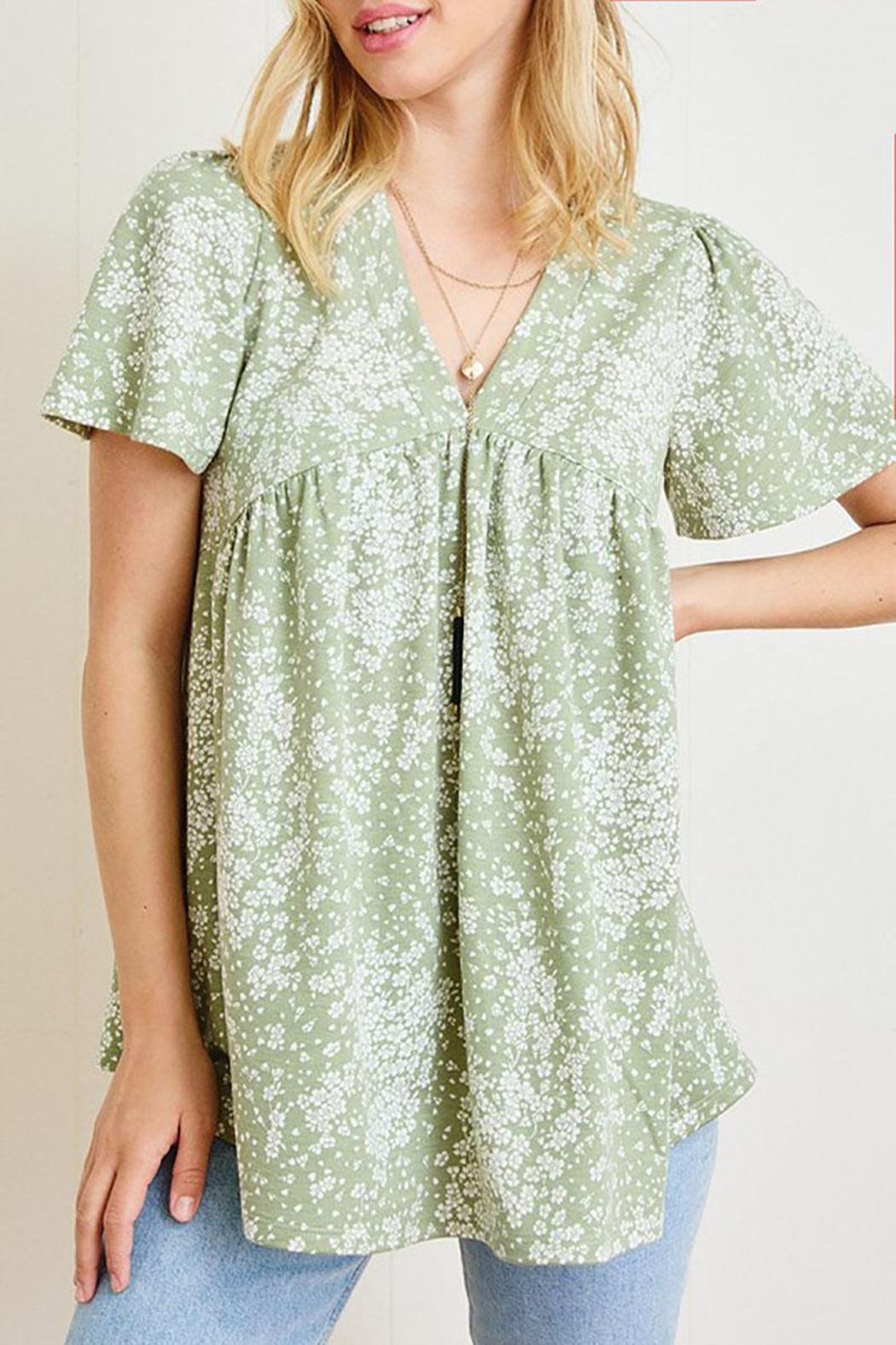 Mint Cloud Boutique Ditsy Floral Babydoll Tunic - Front Cropped Image