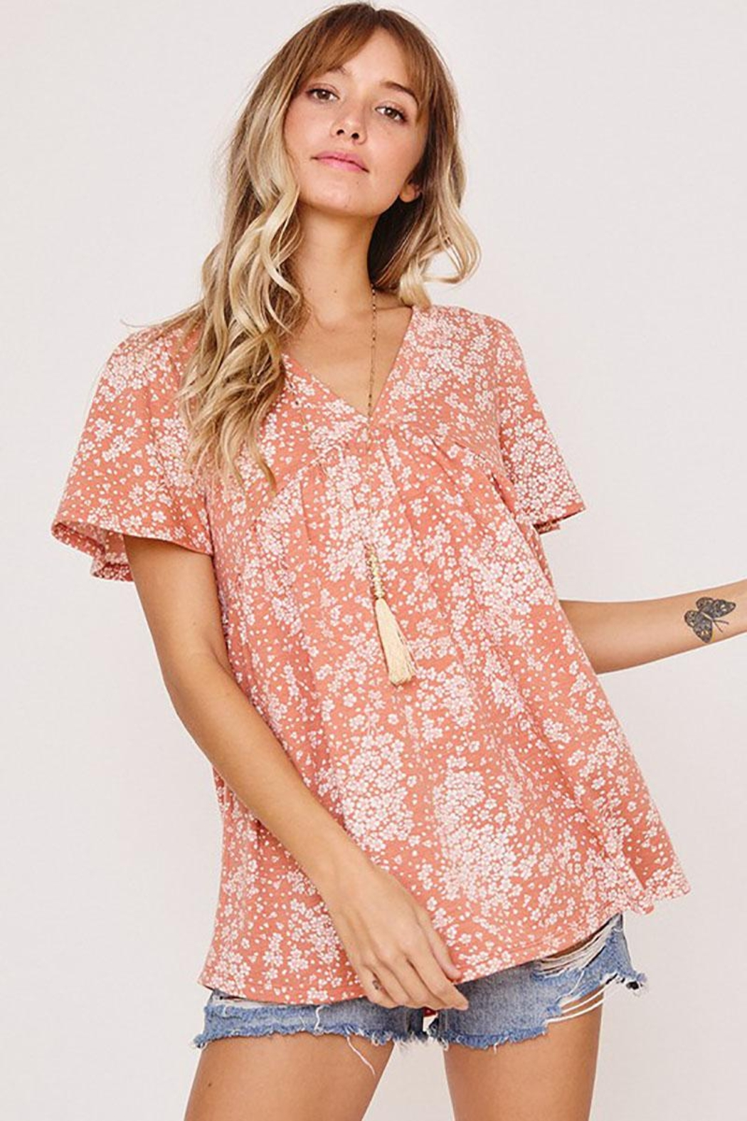 Mint Cloud Boutique Ditsy Floral Babydoll Tunic - Main Image