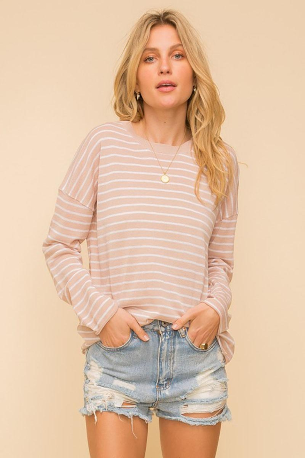 Mint Cloud Boutique Lightweight And Soft Stripe Pullover Sweater Top - Front Cropped Image