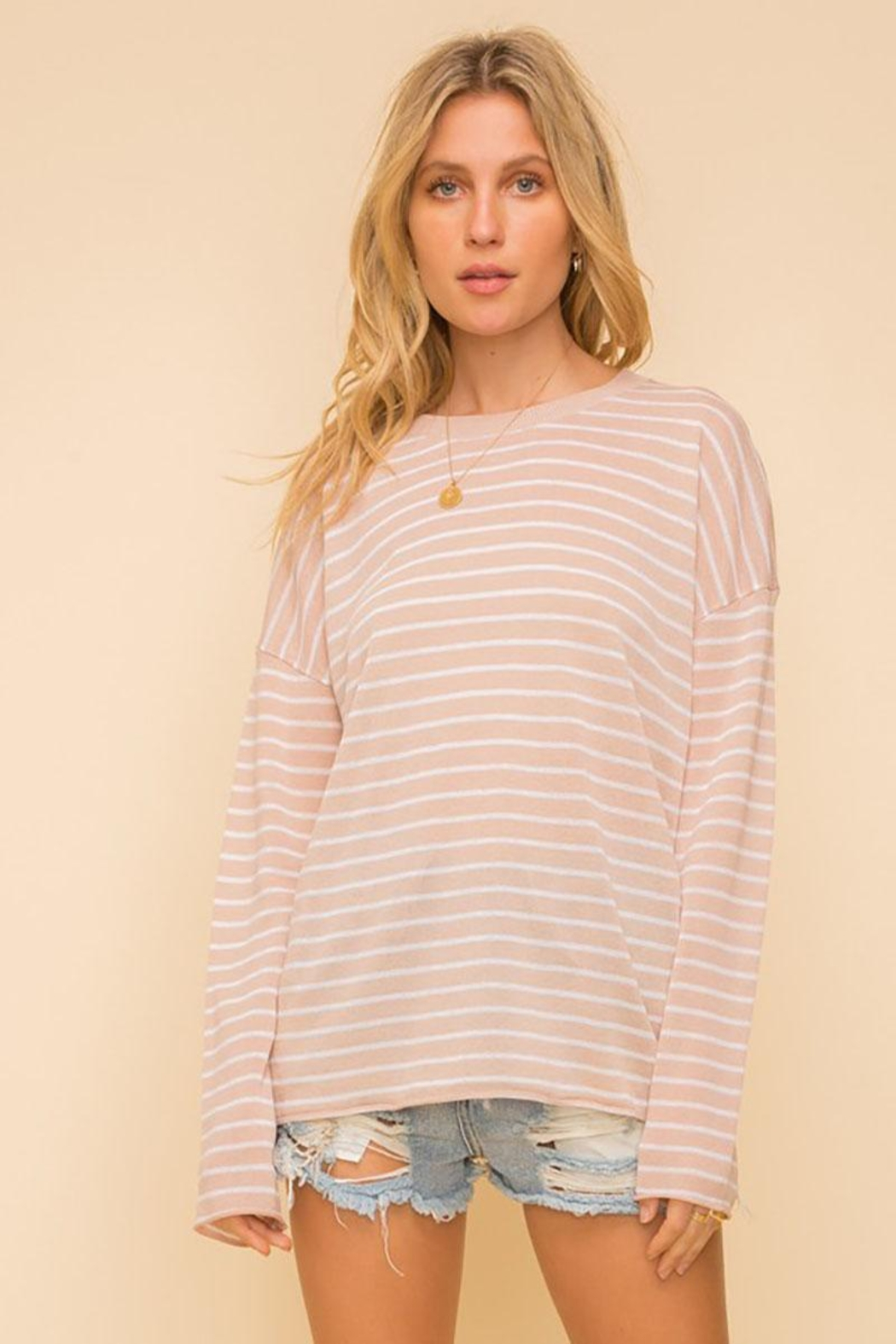 Mint Cloud Boutique Lightweight And Soft Stripe Pullover Sweater Top - Side Cropped Image