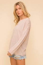 Mint Cloud Boutique Lightweight And Soft Stripe Pullover Sweater Top - Front full body