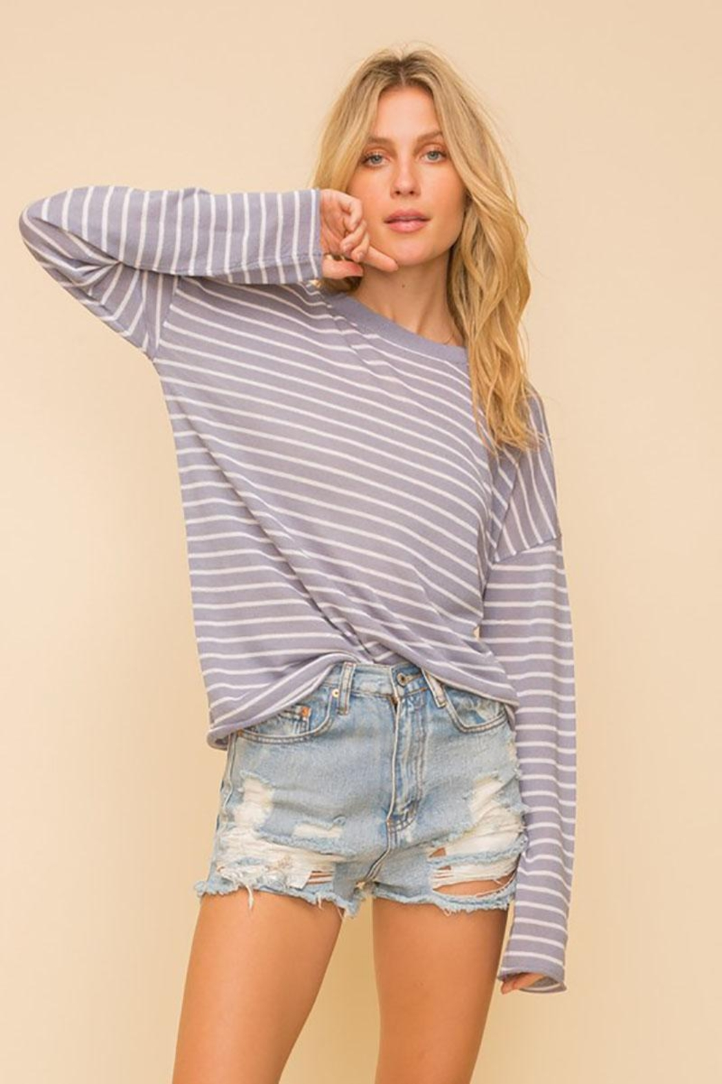 Mint Cloud Boutique Lightweight And Soft Stripe Pullover Sweater Top - Main Image