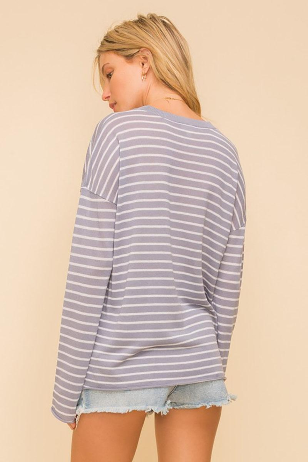 Mint Cloud Boutique Lightweight And Soft Stripe Pullover Sweater Top - Front Full Image